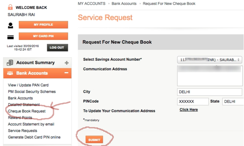 ICICI Bank Cheque Book Request Online