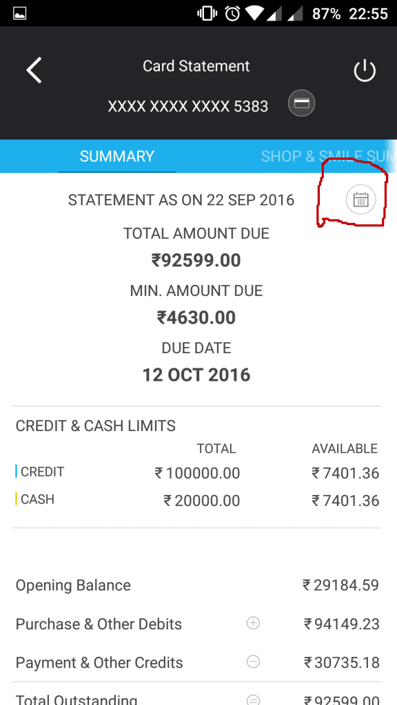 Check Statement of Any month - SBICard.com