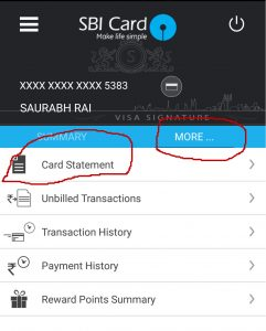 Check SBI Card Statements Online through App
