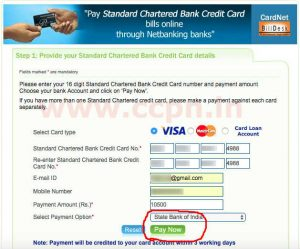 pay standard chartered credit card bill through billdesk window