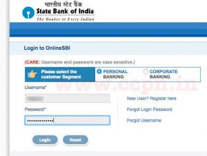 SBI Online Banking Window to Pay Credit Card Bill
