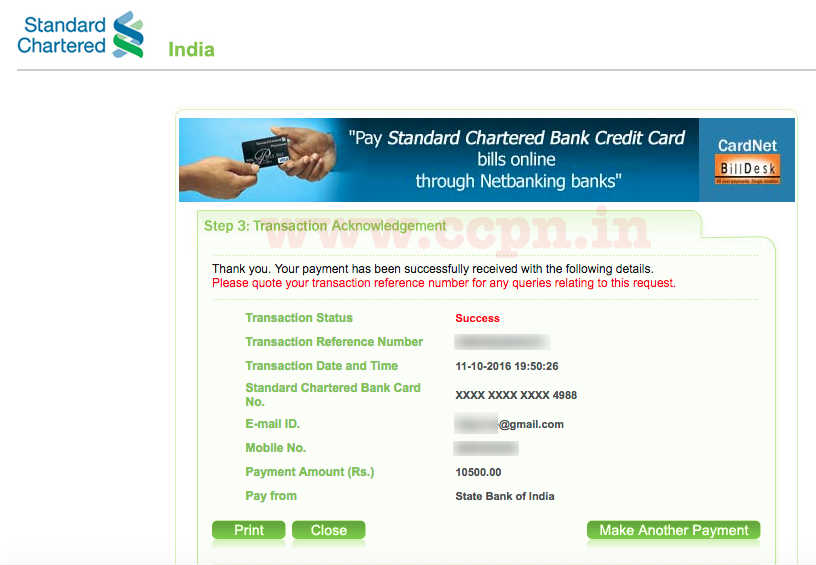 standard chartered bank credit card receipt of bill payment