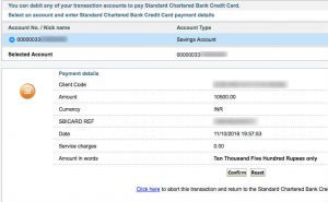 payment confirmation page of SBI Online Banking to pay Credit Card Bill