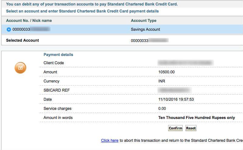 online payment sbi credit card through net banking