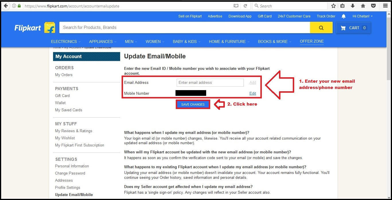 flipkart account how to change email id and phone number in profile