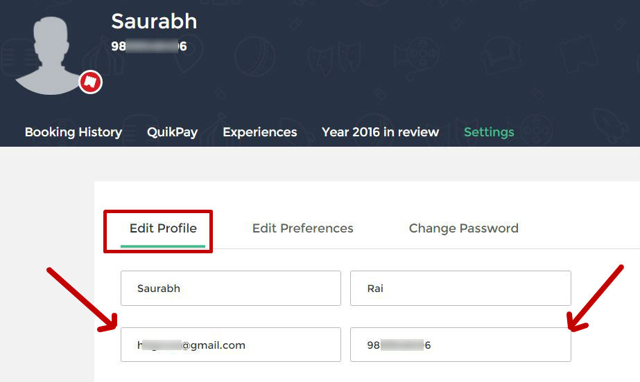 Bookmyshow.com change email Id and phone number in settings tab of profile