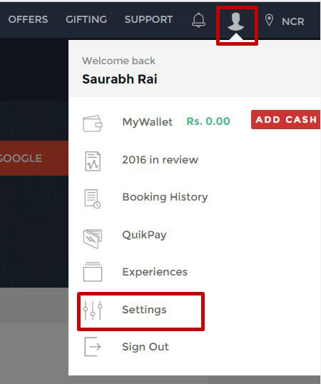How to access the settings page of Bookmyshow