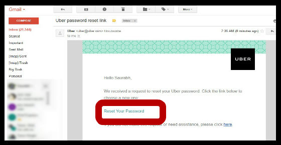 Uber password recovery - Reset your password link in email