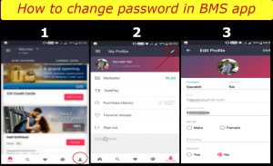 how to change profile password in Bookmyshow app