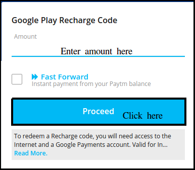 Paytm gift card for Google Play