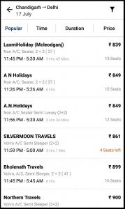 Paytm Bus Selection options
