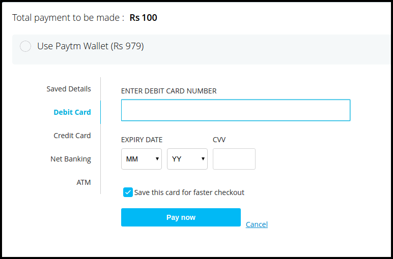 Paytm payment options