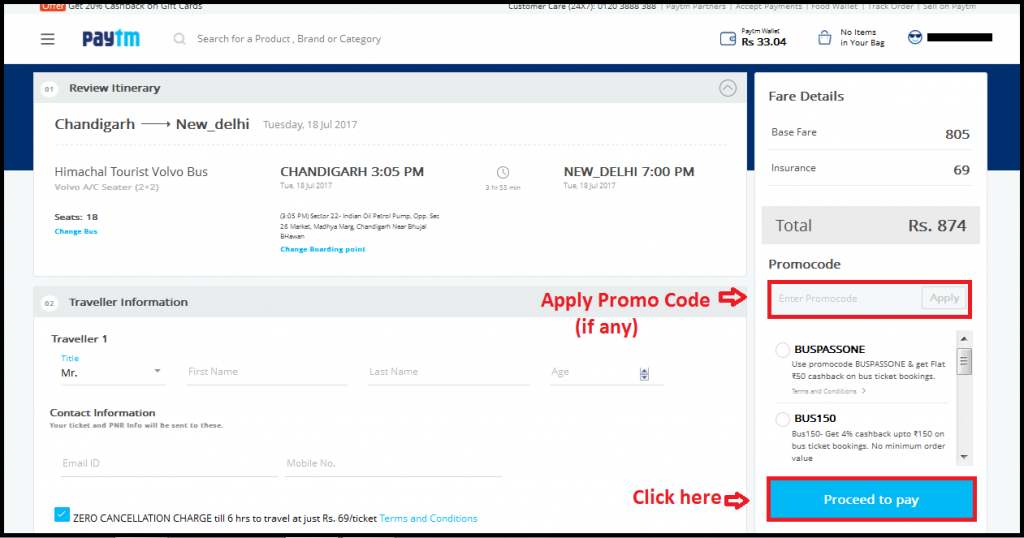 Paytm bus booking promo codes