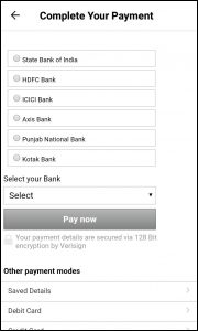 Paytm app payment options