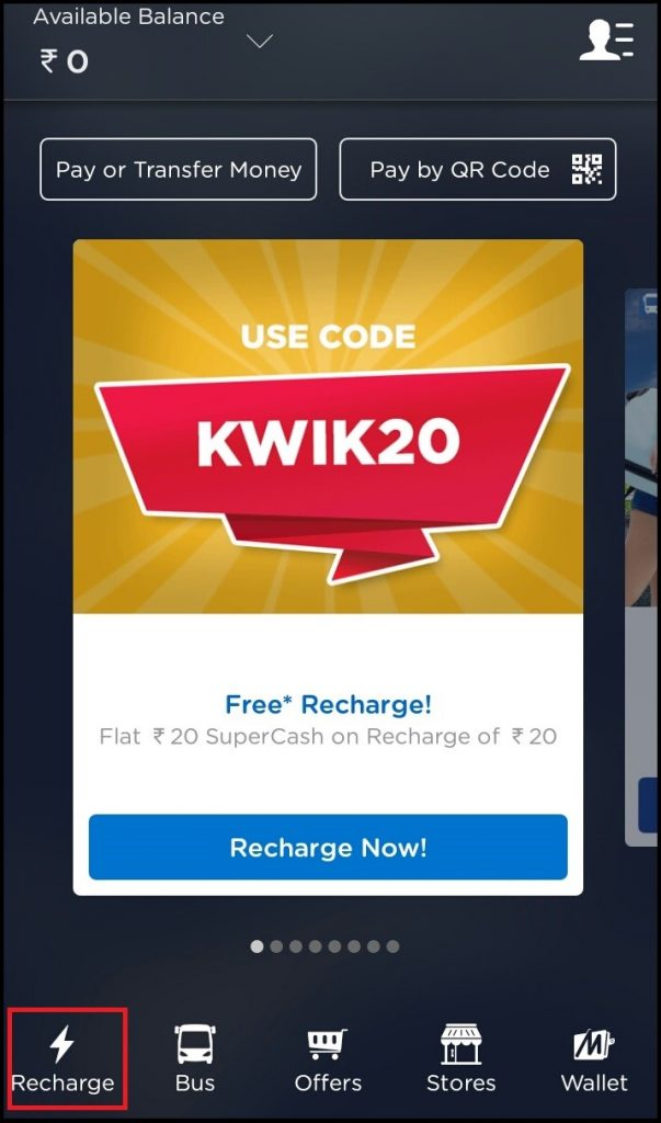How to recharge mobile phone through Mobikwik mobile app?