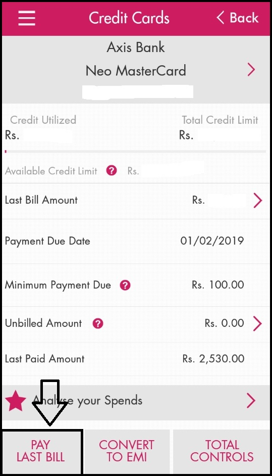 axis bank credit card neft details