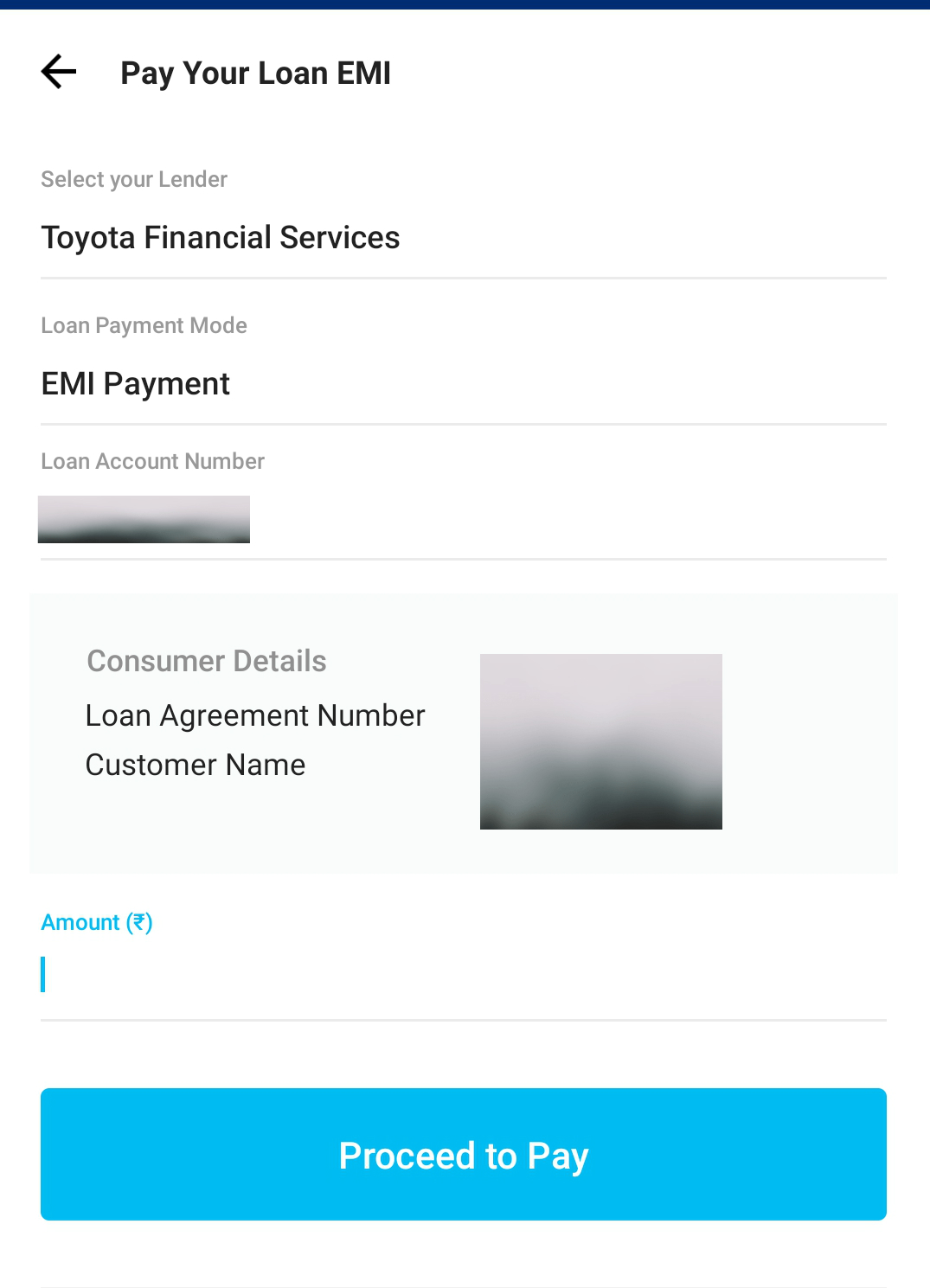 Paytm Toyota Financial Services Loan Payment
