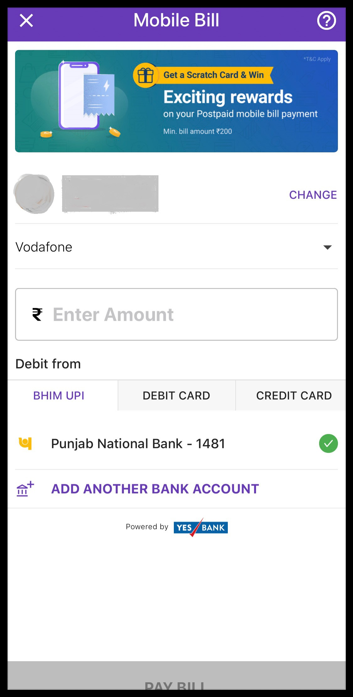 Mobile Bill on PhonePe
