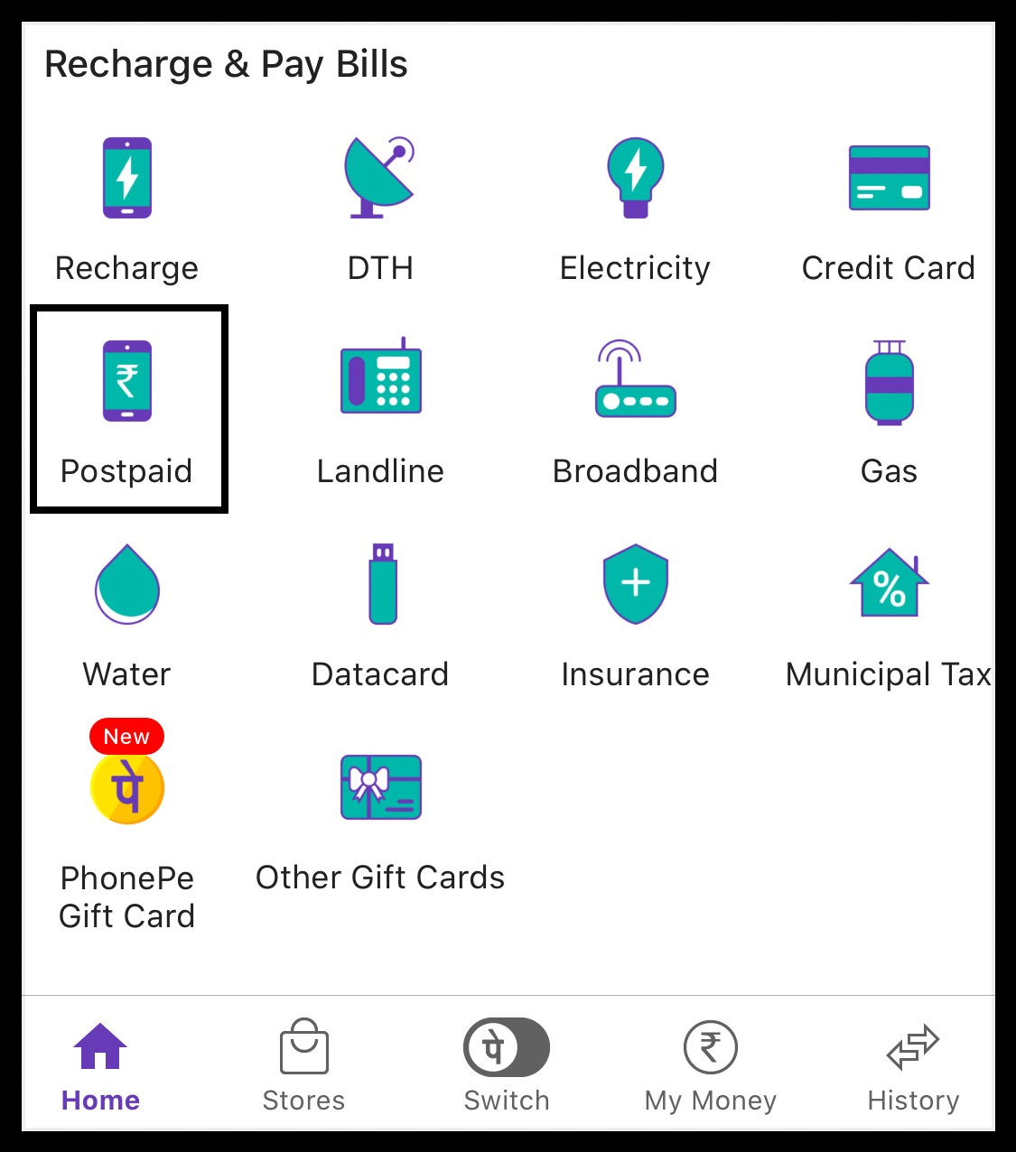 Postpaid Bill on PhonePe