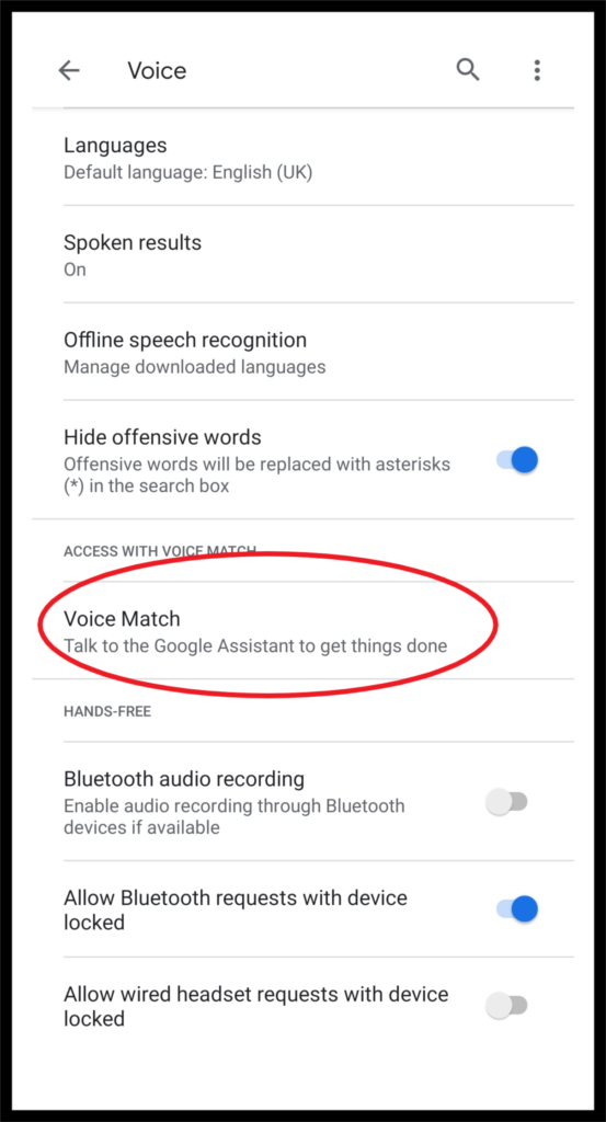 Activate OK Google Voice Match
