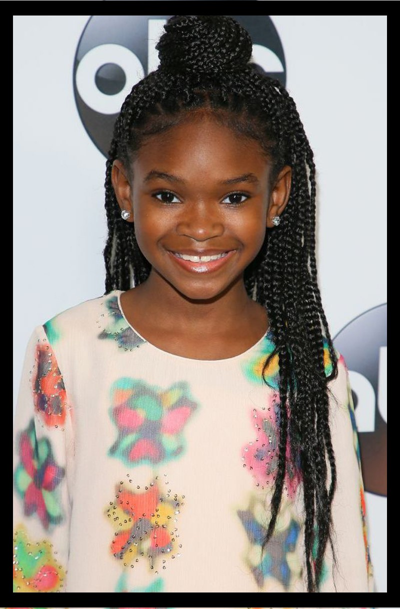 Braided Top Knot Hairstyle for Black Girls
