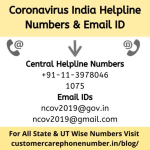 Coronavirus Helpline Numbers and Email IDs India