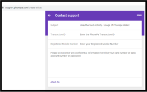 PhonePe Create Ticket Page