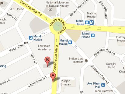 Location Map of Kamani Auditorium Delhi