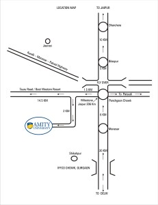 Amity University Manesar Campus Route Map