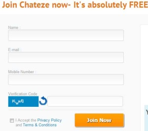 Chateze.com Registeration Form