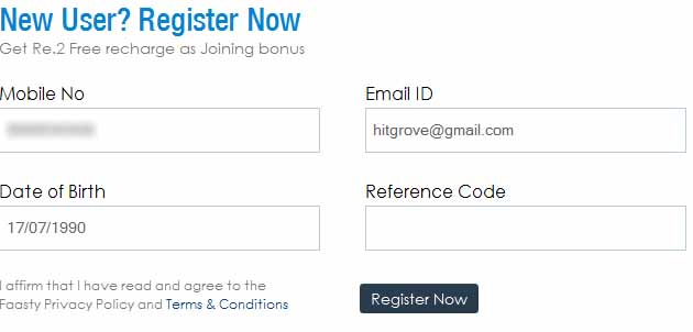 Faatsy registration form