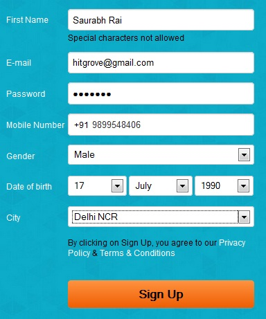 OyeRecharge Registration form